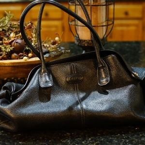 Tods Black Leather Handbag - silver trim